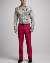 Etro Paisley Sport Shirt & Flat-Front Cotton Pants