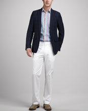 Etro Plaid Linen Sport Coat, Striped Linen Sport Shirt & Flat-Front Cotton Pants