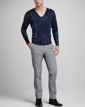 Etro Paisley V-Neck Sweater & Paisley-Pocket Houndstooth Pants