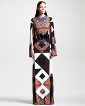 Givenchy Mixed-Print Crepe Gown & Teardrop Belt