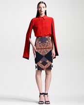 Givenchy Hanging-Sleeve Blouse & Printed Crepe Pencil Skirt