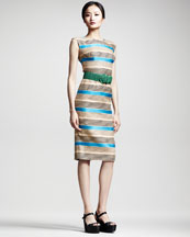 Dolce & Gabbana Striped Cap-Sleeve Dress & Woven Belt