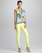 Etro Sleeveless V-Neck Top & Five-Pocket Jeans