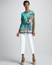 Etro Floral-Print Knit Tunic & Cropped Ankle Pants