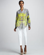 Etro Long Dolman-Sleeve Button-Front Tunic & Cropped Ankle Pants
