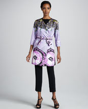 Etro Tie-Belted Printed Caban Jacket, Ruched Asymmetric-Hem Top & Cropped Ankle Pants