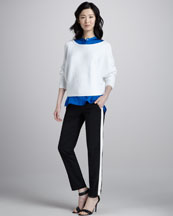 Vince Ribbed Knit Sweater, Sleeveless Charmeuse Blouse & Contrast-Stripe Pants