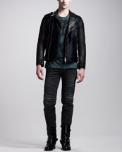 Balmain Calf-Hair Biker Jacket, Lion Head Tee, Moleskin Biker Pants & High Buckled Leather Boot