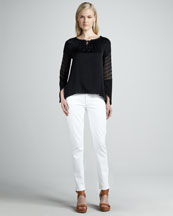 Elie Tahari Etta Sheer-Sleeve Blouse & Deidre Power-Stretch Jeans