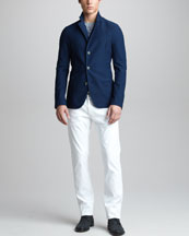 Giorgio Armani Mesh Three-Button Jacket, Printed Twill Sweater & Modern-Fit White Jeans