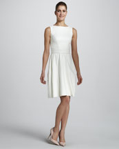 Monique Lhuillier Crocodile-Embossed Dress & Leather Belt