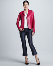 Elie Tahari Tina Leather Jacket, Shira Blouse & Melissa Printed Pants