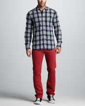 7 For All Mankind Two-Pocket Plaid Shirt & Slimmy Tapered Fire Brick Jeans
