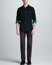 7 For All Mankind Two-Pocket Plaid Shirt & The Straight Chianti Red Jeans