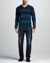 7 For All Mankind Striped V-Neck Sweater & Standard Porterville Jeans