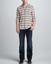 7 For All Mankind Check Sport Shirt & Standard Hollenbeck Jeans