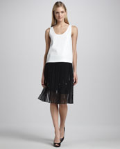 Elie Tahari Rosalin Silk Sleeveless Blouse & Helena Pleated Sequined Skirt