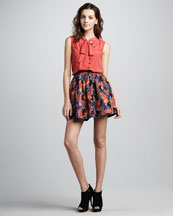 MARC by Marc Jacobs Mariko Sleeveless Tie-Neck Blouse & Nata Full Printed Skirt