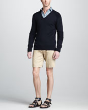 Belstaff Somerford V-Neck Moto Sweater, Blackburn Knurl-Print Shirt & Croxton Belted Shorts