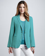 M Missoni Silk One-Button Jacket & Space-Dye Ribbed Tank