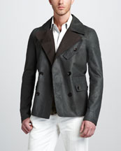 Belstaff Denton Short Pea Coat & Darton Short-Sleeve Military Shirt