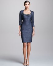 Carmen Marc Valvo Sleeveless Beaded Cocktail Dress & Three-Quarter Sleeve Bolero