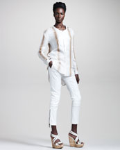 Belstaff Witley Striped Tunic & Filton Cropped Cotton-Linen Pants