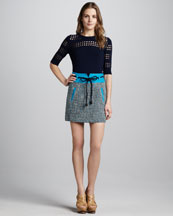 Milly Cutout-Stripe Sweater & Roberta Tweed Belted Skirt