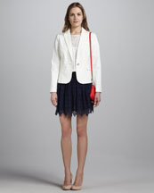 Milly Brydan Twill Blazer, Mila Lace-Panel Top & Margaret Scalloped Lace Skirt