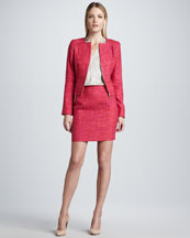 Elie Tahari Monroe Tweed Jacket, Shira Blouse & Alexis Tweed Skirt