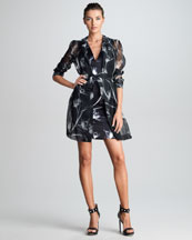 Jason Wu X-Ray Floral-Print Silk Trench Coat & Dress