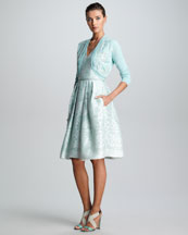 Carolina Herrera Embroidered Cropped Bolero & Baroque Devore Dress