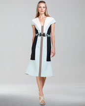 Carolina Herrera Colorblock Wool Crepe Dress & Scroll-Detailed Belt