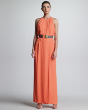 Lela Rose Draped-Bodice Halter Gown & Cutout Leather Belt