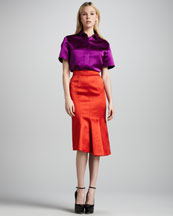 Burberry Prorsum Short-Sleeve Satin Blouse & Kick-Front Satin Pencil Skirt