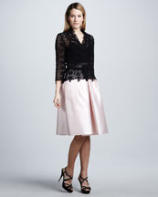 Carmen Marc Valvo Long-Sleeve Lace Top & Full A-Line Skirt