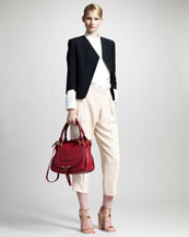 Chloe Raw Silk Jacket, Pleated Front Blouse & Cropped Trousers