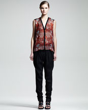 Helmut Lang Mandala-Print Sleeveless Top & Cove Suit Pants