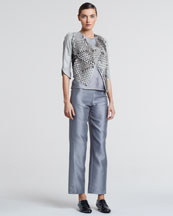 Giorgio Armani Laser-Cut Leather Jacket, Silk Mesh Peplum Top & Cropped Wide-Leg Pants