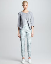 Giorgio Armani Asymmetric-Snap Knit Jacket, Rolled-Neck Short-Sleeve Shirt & Narrow Floral Jacquard Pants