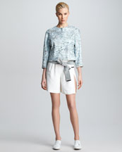 Giorgio Armani Floral Jacquard Swing Jacket & Pleated Snap-Closure Shorts