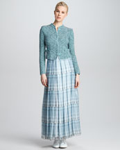 Giorgio Armani Tweed Mock-Collar Jacket & Kaleidoscope-Print Tiered Maxi Skirt