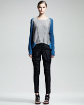 Helmut Lang Mixed-Knit Colorblock Top & Lacquered Cotton-Blend Pants