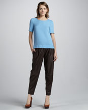 Theory Milya Short-Sleeve Top & Ford Relaxed Leather Pants