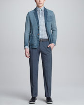 Giorgio Armani Burlap Blazer, Box-Print Sport Shirt & Textured Linen-Cotton Trousers