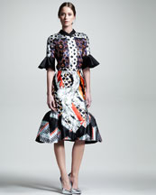 Peter Pilotto Tilda Printed Half-Sleeve Blouse & Laurena Flounce-Hem Skirt