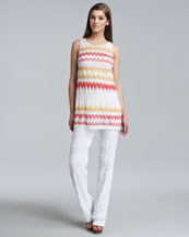 Missoni Sleeveless A-Line Tunic & Lacy Knit Pants