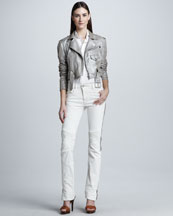 Ralph Lauren Black Label Metallic Suede Biker Jacket, Stretch Poplin Blouse & Biker Jeans