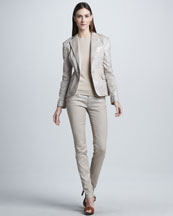 Ralph Lauren Black Label Shimmery Dabney Blazer, Cashmere-Silk Top & Cigarette Pants