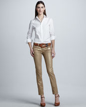 Ralph Lauren Black Label Stretch Poplin Blouse & Cropped Metallic Matchstick Pants
